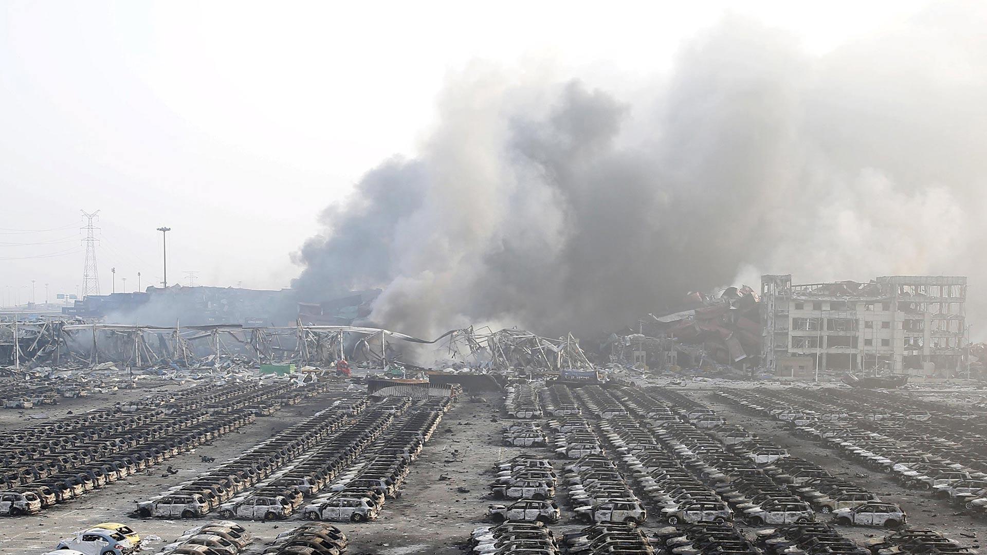 La ciudad de Tiajín sufrió repetidas explosiones que iniciaron con el estallido de un almacén químico