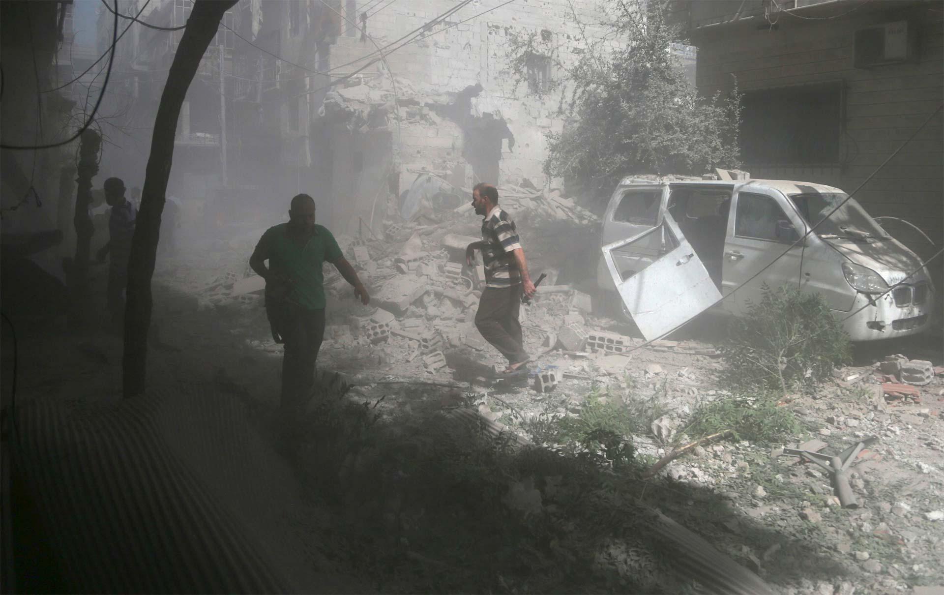 El objetivo eran 20 camiones. Según el jefe de rebeldes sirios de la zona, murieron siete conductores