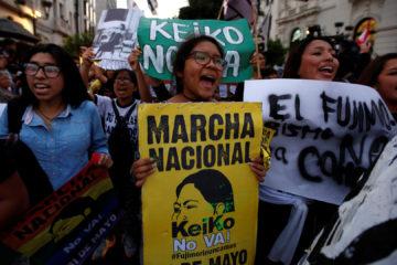 Un gran grupo de personas tomaron las calles de forma pacífica en rechazo a la candidatura de la hija del ex presidente Alberto Fujimori