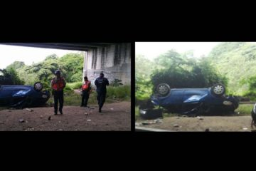 Paramédicos del Ministerio de Transporte y Obras prestaron atención medica al único herido
