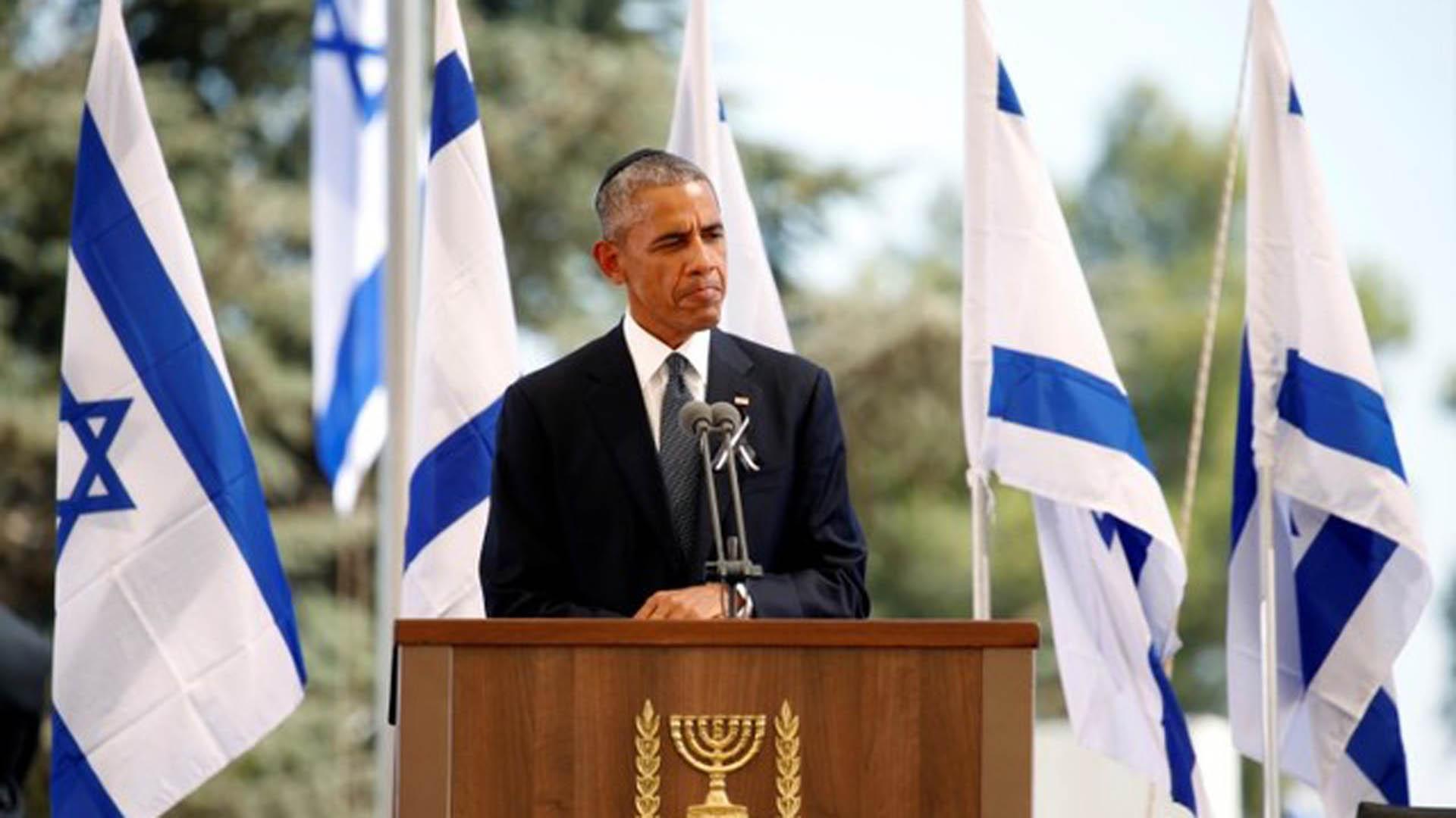 Presidente Barack Obama en el sepelio de Simón Peres
