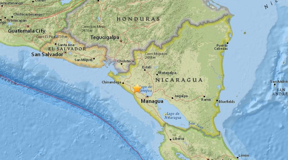 Se registra sismo en Nicaragua