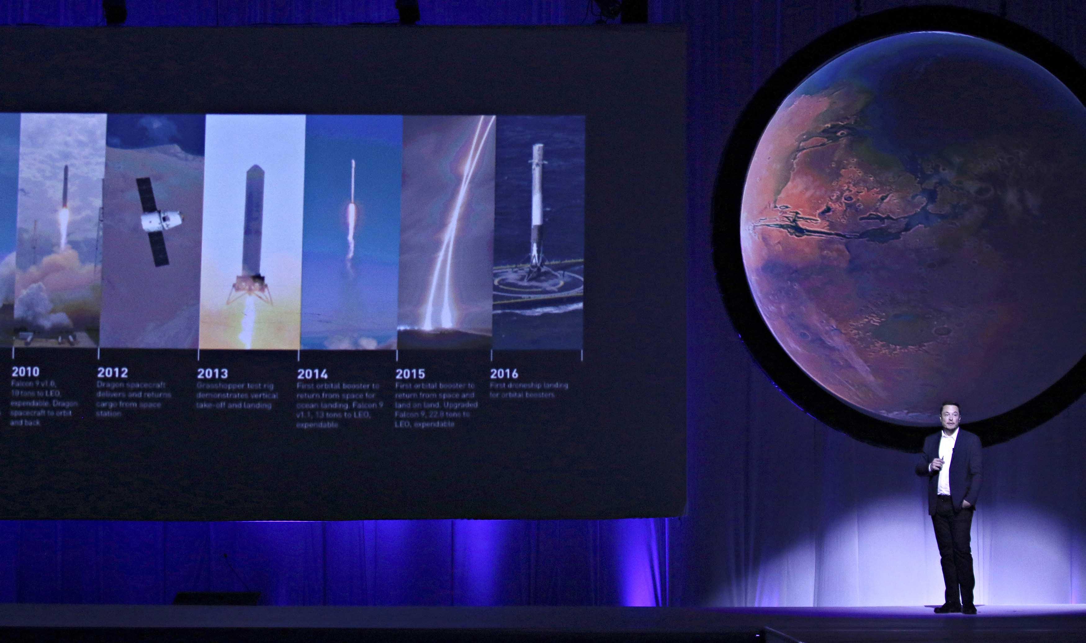 El director y fundador de la compañía espacial, Elon Musk, presentó un plan con el que espera que un millón de personas habiten el planeta en 100 años