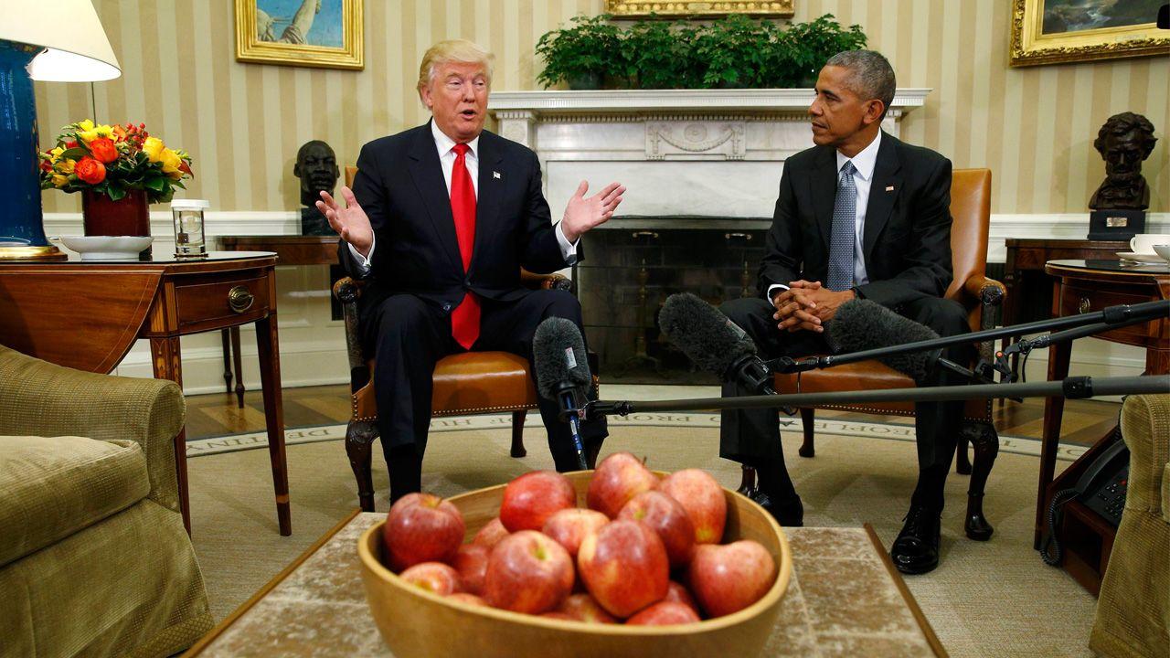 El presidente electo de los EE.UU. sostuvo hoy una reunión con el mandatario para comenzar el proceso de traspado de poderes