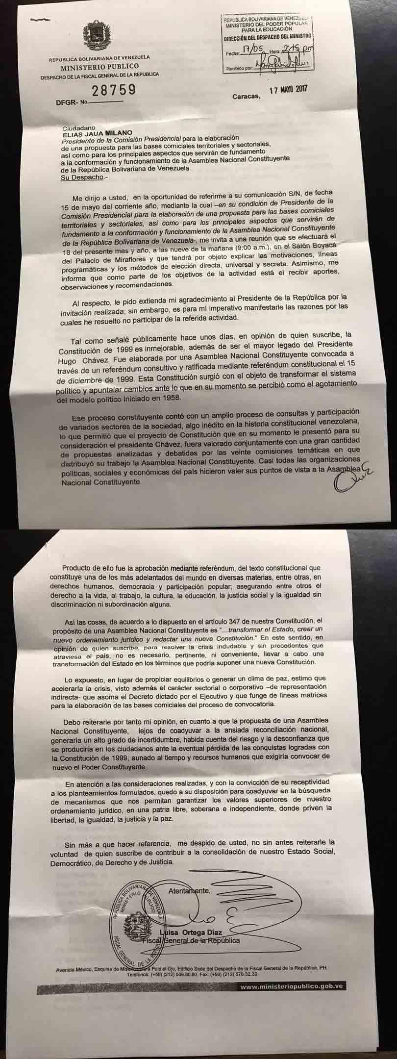 Carta de Luisa Ortega Díaz a Elías Jaua