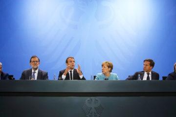 Angela Merkel recibió en Berlín a Emmanuel Macron, Theresa May, Mariano Rajoy, entre otros