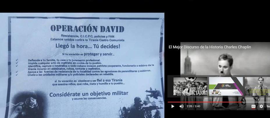 El mensaje los portales menciona la Operación David la cual fue mencionada por los militares durante la Toma del Fuerte Paramacay