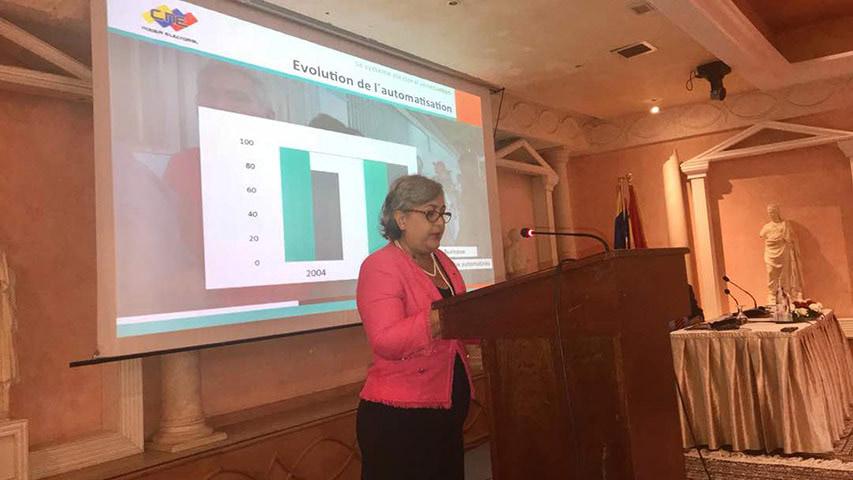 """La presidenta del CNE expondrá """"las fortalezas y garantías del sistema comicial"""" que llevará las próximas elecciones en el país"""
