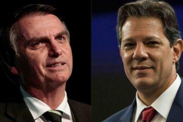 La última encuesta señala que Bolsonaro marcó un 56% en intención de votos válidos; mientras Haddad se haría con el 44%